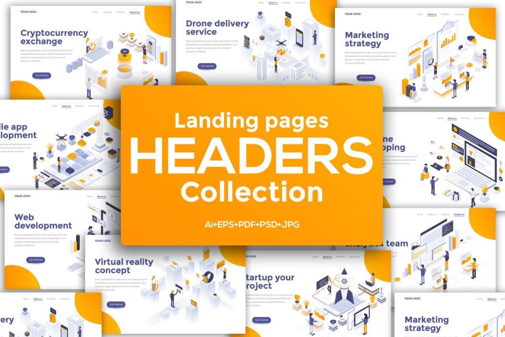 现代平面设计的等距概念插图模版素材Landing page headers template on various topics插图