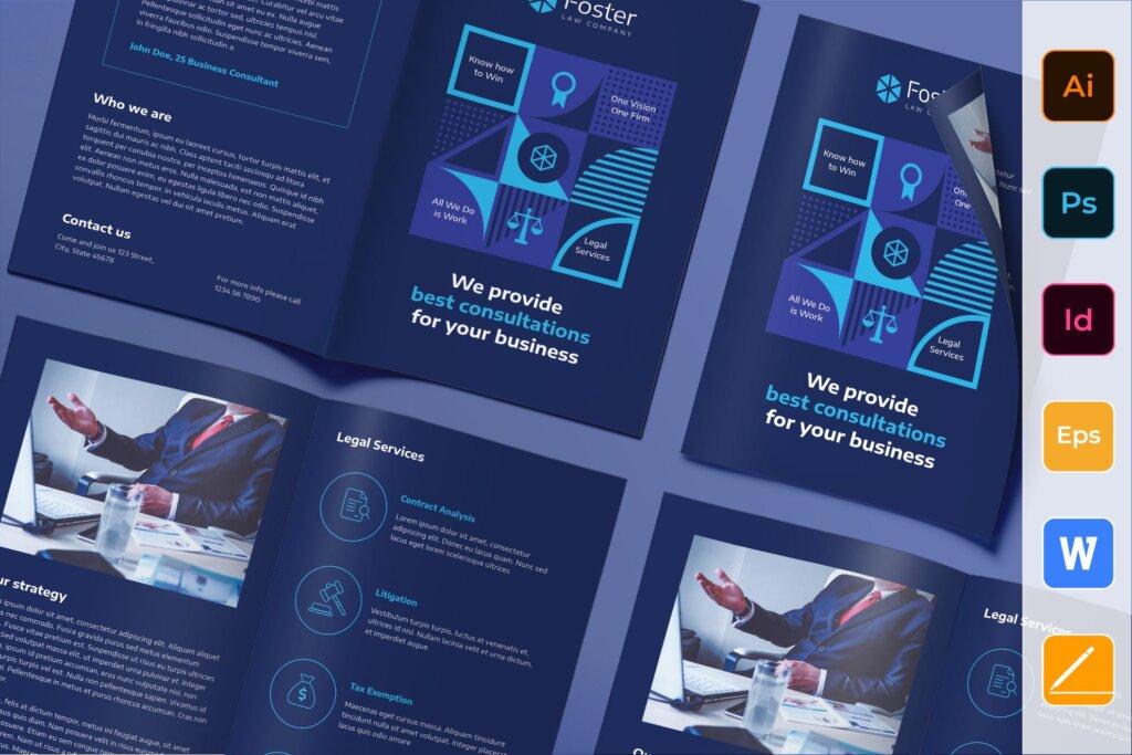 简约律师事务所宣传折页模板素材Law Company Brochure Bifold插图