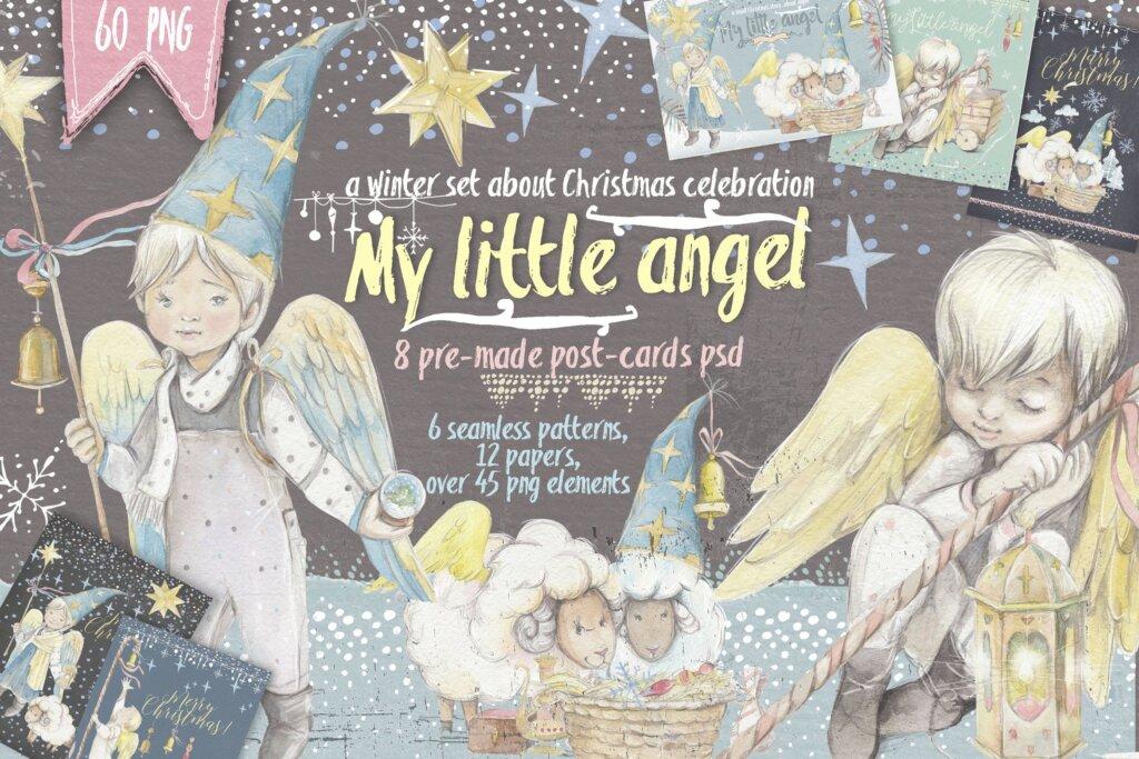 圣诞节装饰图案纹理元素模版素材下载Little angel 60 PNG插图