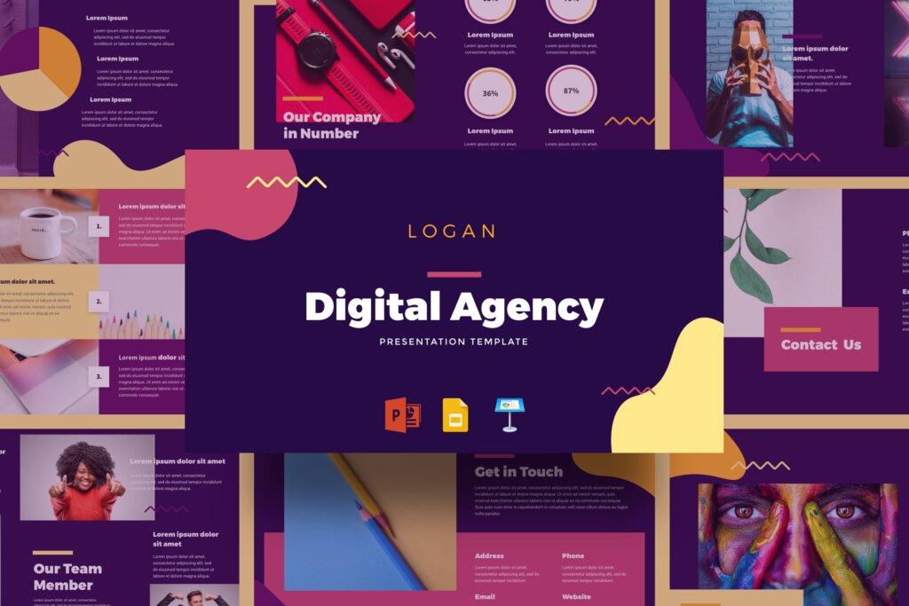 艺术马卡龙配色主题演讲幻灯片PPT模版Logan Digital Agency Presentation Template插图