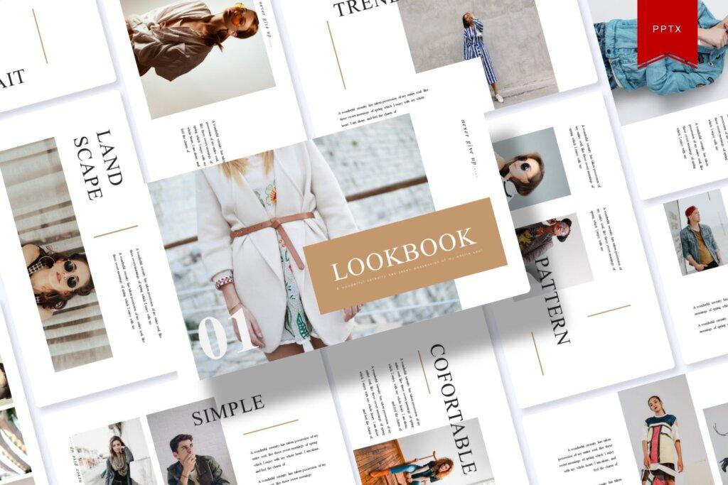 时尚服装行商务演示幻灯片模版下载Lookbook Powerpoint Template插图
