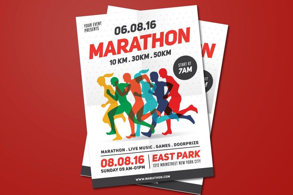 马拉松运动比赛活动传单海报模板Marathon Event Flyer ZN5P3B插图