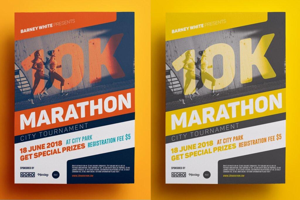 马拉松跑步运动比赛宣传单海报模板素材Y7UJ78插图