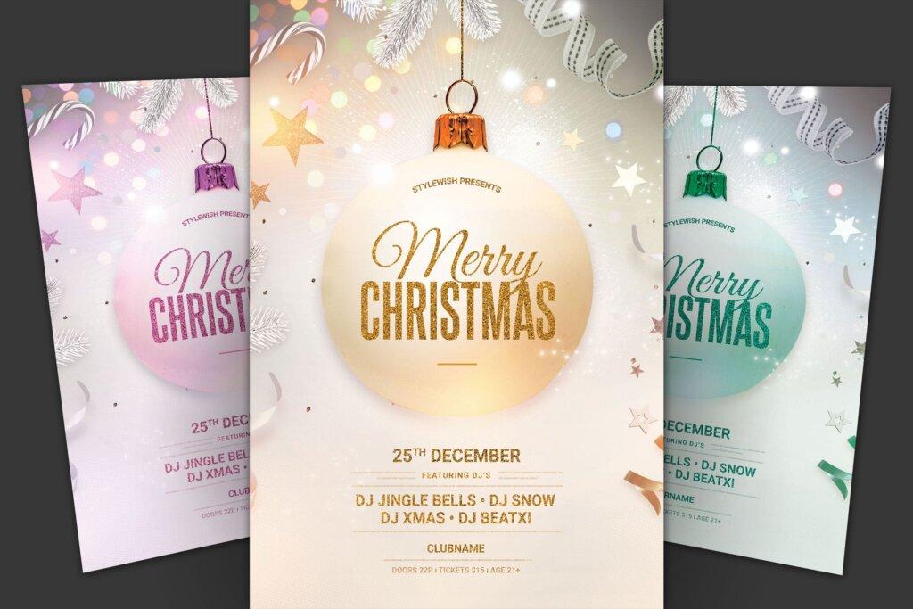 圣诞海报宣传单素材模板Merry Christmas Flyer E6FH8Y3插图