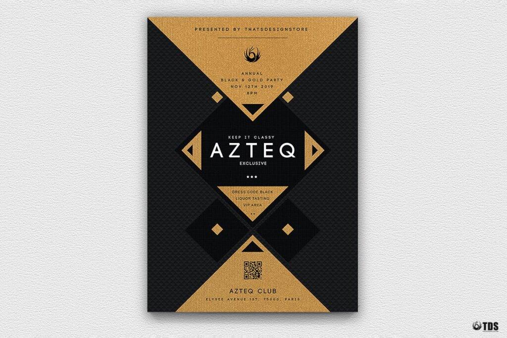 创意几何拼图企业发布会传单海报模板素材下载Minimal Black and Gold Flyer Template V3插图