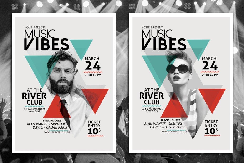几何构图时尚音乐会海报传单模版素材下载Q3S43R插图