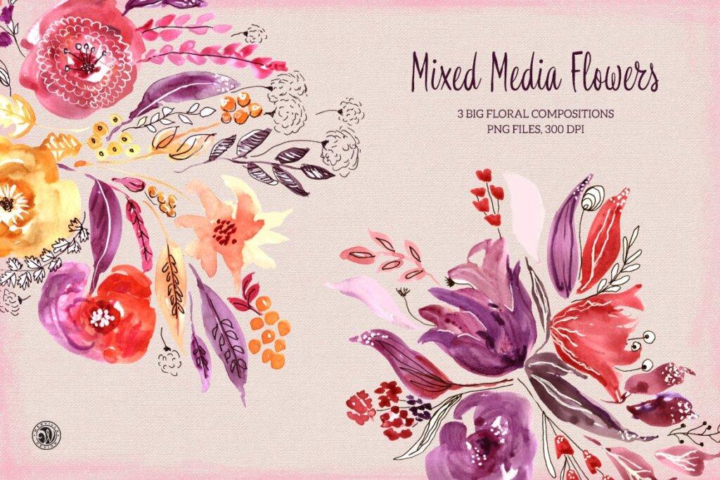 精致混合装饰红色花卉图案纹理素材Mixed Media Flowers P74RCD插图