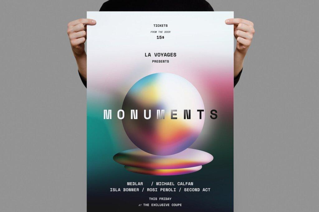 简约设计渐变海报传单模板素材模板Monument Poster Flyer插图