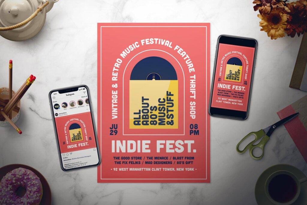 音乐海报宣传单素材模板Music Flyer Set XKDSM8P插图