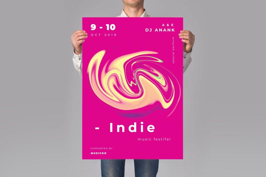 高端油画背景纹理装饰图案发布会海报传单模板素材下载Music Indie Poster Flyer插图