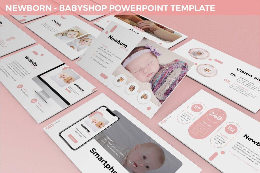 新生婴儿商店品牌策划提案业务演示幻灯片模板下载Newborn Babyshop Powerpoint Template插图