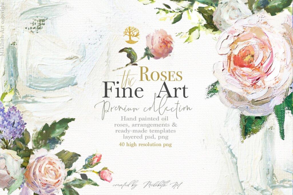 油画装饰图案婚礼邀请函装饰图案下载Oil painted Fine Art roses collection插图