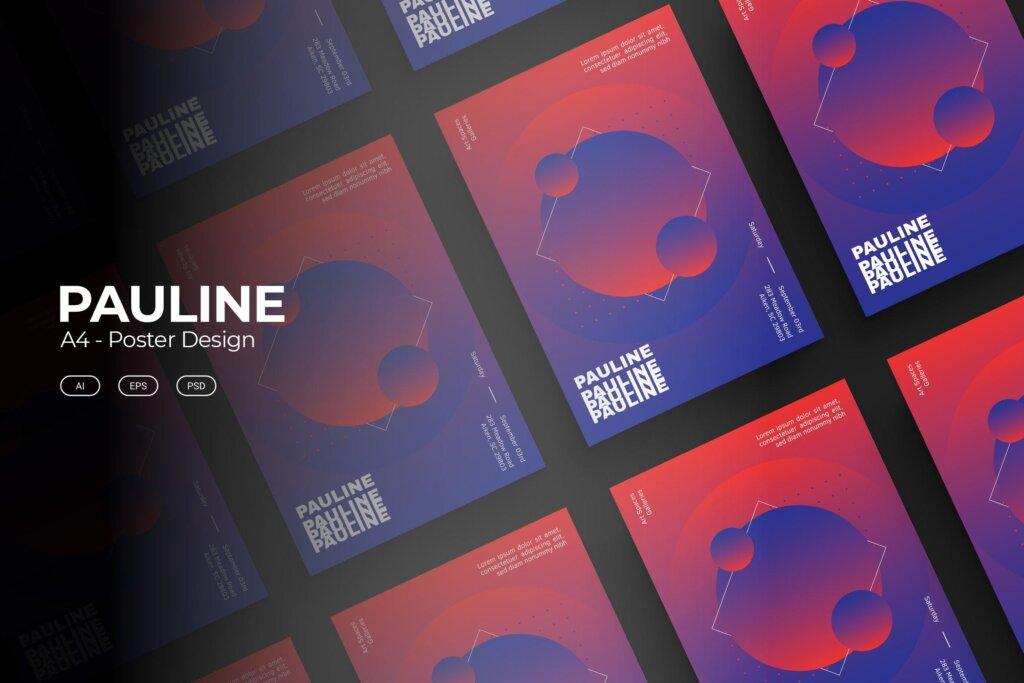 企业新产品发布会海报传单模板素材下载PAULINE Poster Design插图