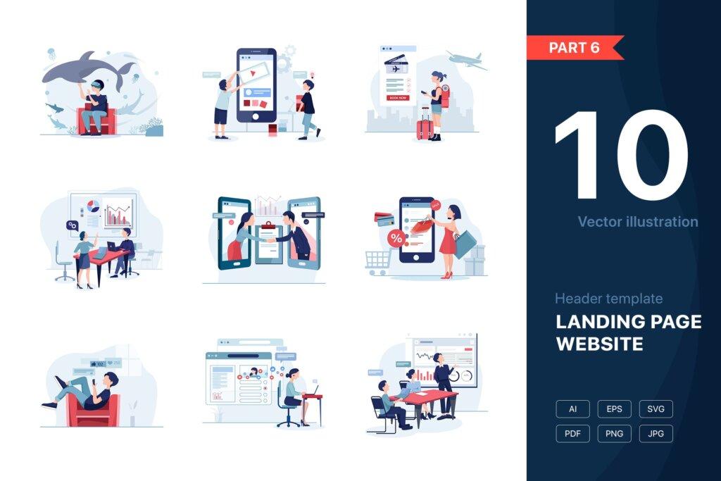 在线购物商场矢量扁平化插图素材模版下载[Part 6] Website Illustrations Set插图