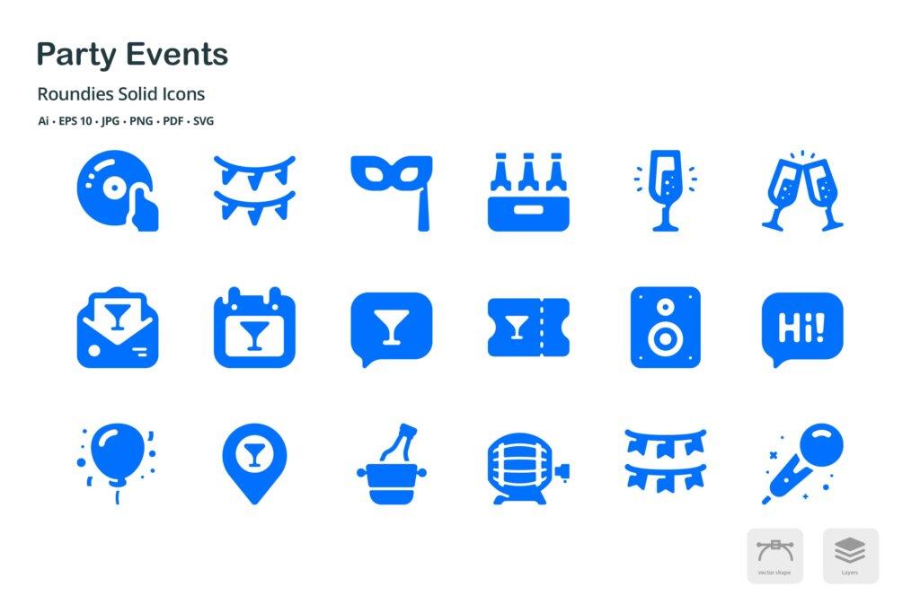 聚会活动场景系列图标源文件下素材下载 Events Roundies Solid Glyph Icons插图