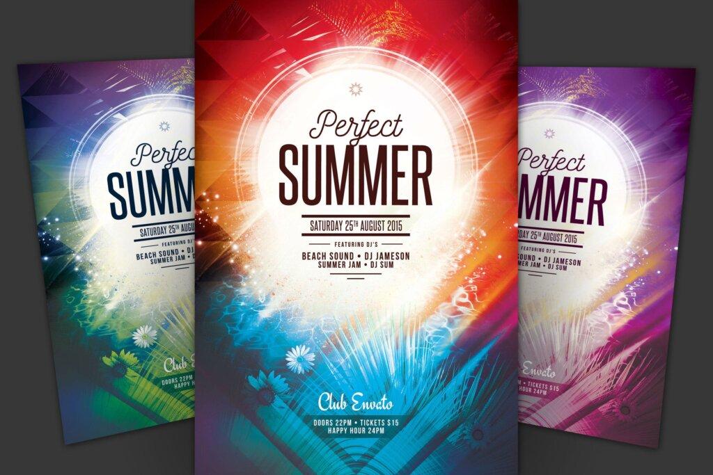 著名的俱乐部派对海报传单海报模版素材下载Perfect Summer Flyer插图