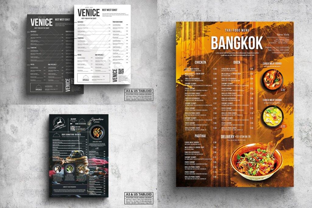 餐饮美食西餐料理菜单模板素材下载Poster Food Menu A3 US Tabloid Bundle插图
