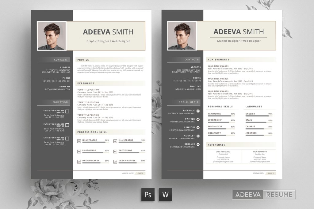 现代互联网公司简历海报传单模版素材Professional Resume Template Smith插图
