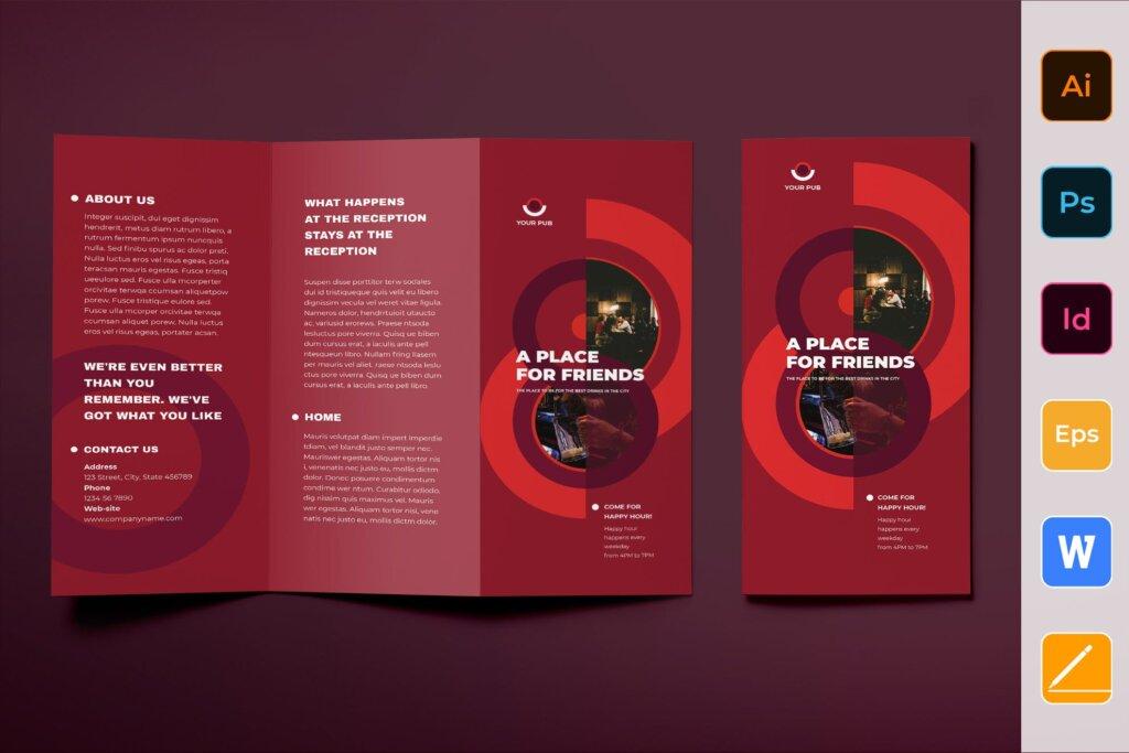 红色产品宣传模板素材下载Pub Brochure Trifold插图
