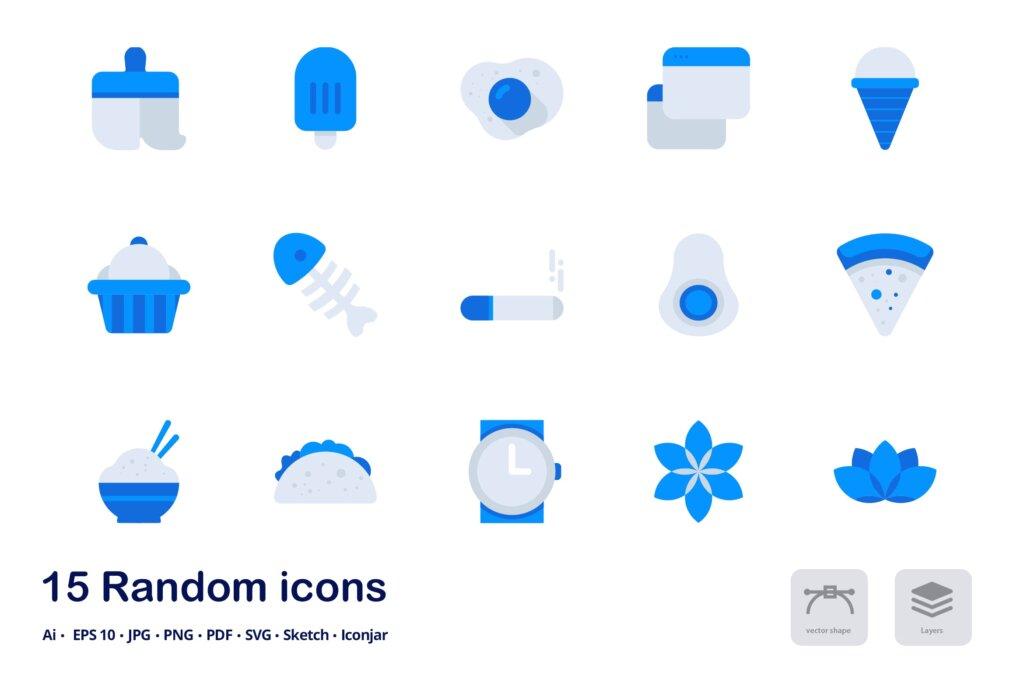 平面双色图标生活用品系列图标文件下载Random Accent Duo Tone Icons插图