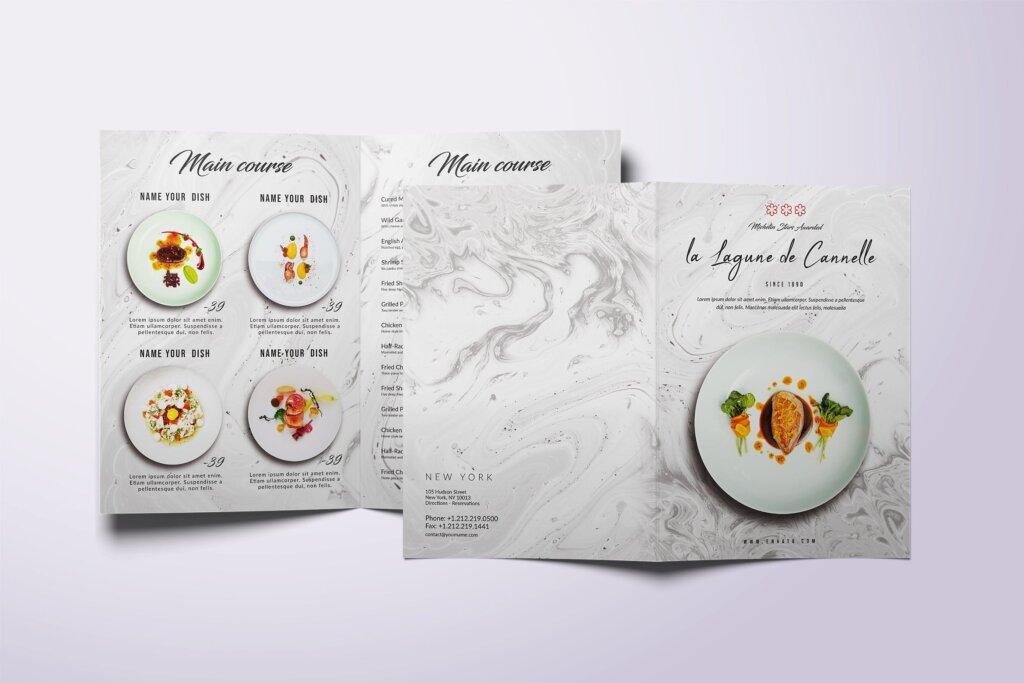 简约文艺美食餐厅食品菜单模板素材下载Restaurant Bifold A4 US Letter Minimal Food Menu插图