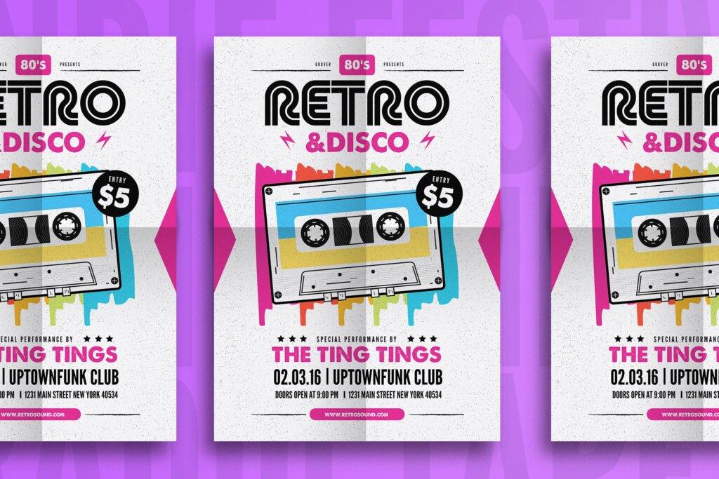 复古迪斯科摇滚音乐传单海报模板素材下载Retro Disco Flyer插图