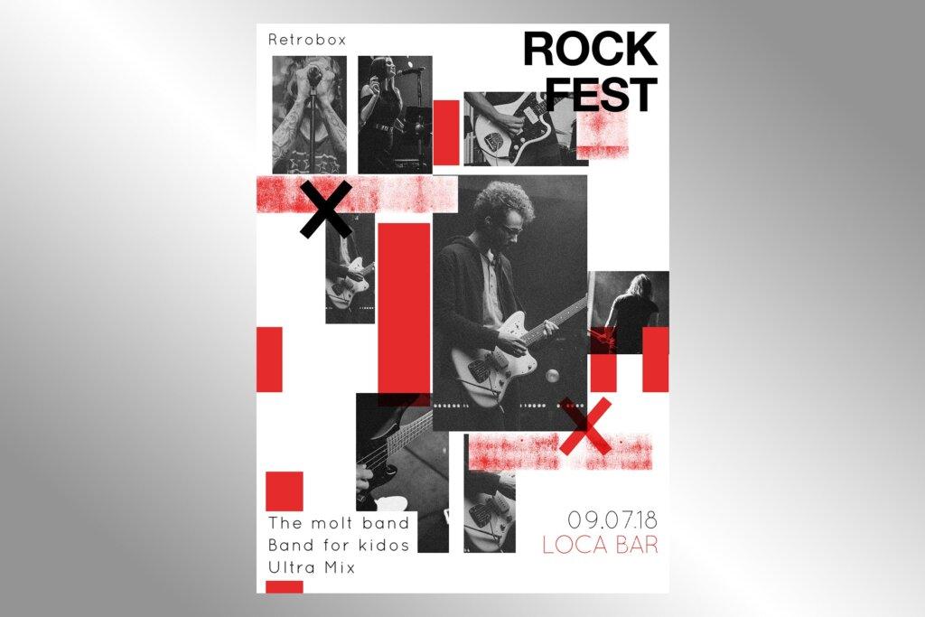 创意版式摇滚音乐节宣传单海报模板素材下载Rock Fest Flyer Poster插图