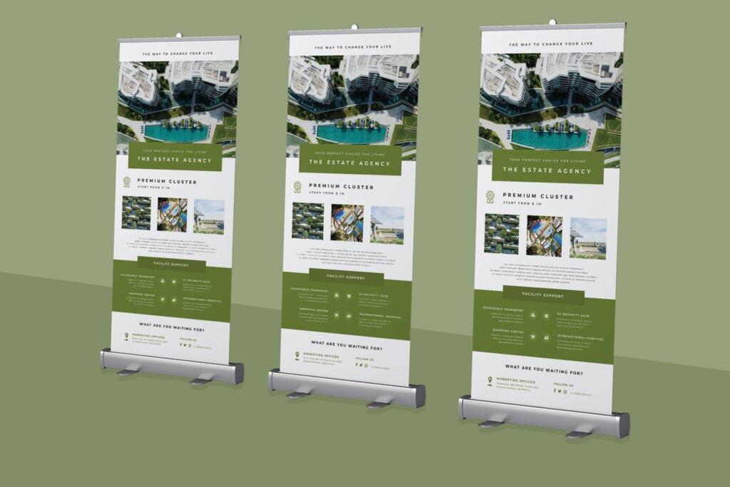 酒店旅游住宿行业横幅广告易拉宝模板素材下载Roll up Banner Property Promotion插图