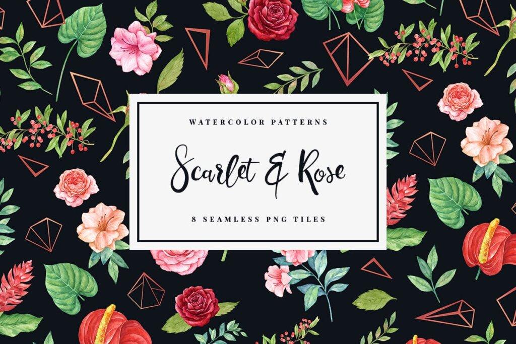 婚礼装饰图案纹理素材模版下载Scarlet Rose Seamless Patterns插图