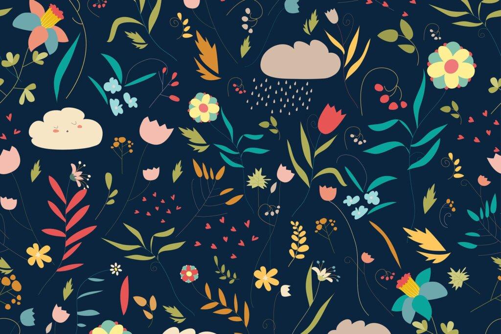 花/叶/云矢量的彩色花卉装饰图案素材下载Seamless colorful floral pattern with flowers插图