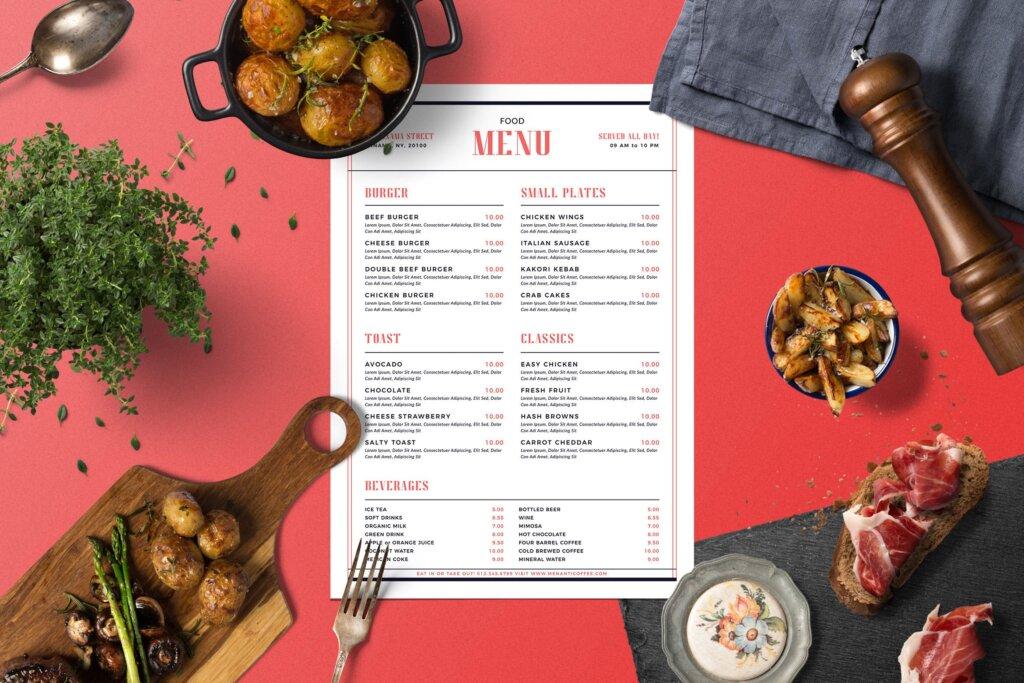 简单的现代食品菜单美食传单模板素材Simple Modern Food Menu插图