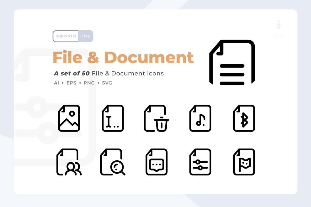 50个文件和文件线性图标文件下载Smoothline 50 File and Document icon set插图