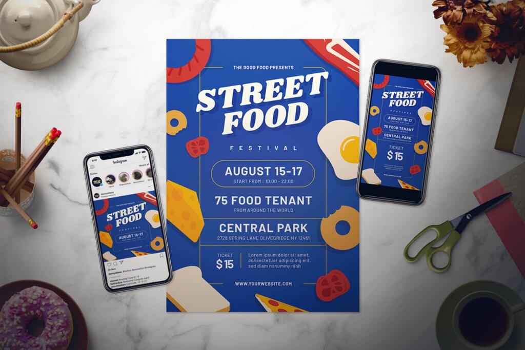 街头美食节宣传单海报模板素材下载Street Food Festival Flyer Set插图