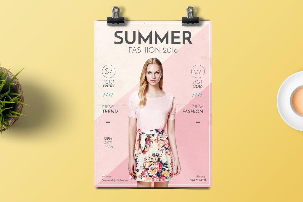 夏季时尚服装促销传单海报模板素材Summer Fashion Flyer 4EVN78插图