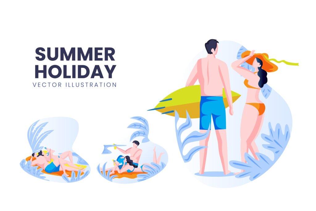 夏季矢量在线旅游行业冲浪游泳矢量场景插图素材下载Summer Holiday Vector Character Set插图