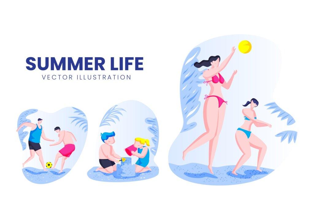 夏季运动活动场景矢量插画插图素材下载Summer Life Activity Vector Character Set插图