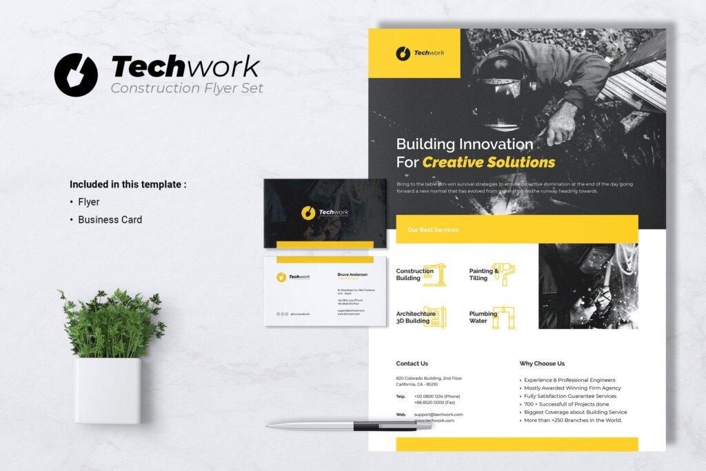 技术工作建设传单名片模板素材下载TECHWORK Construction Flyer Business Card插图