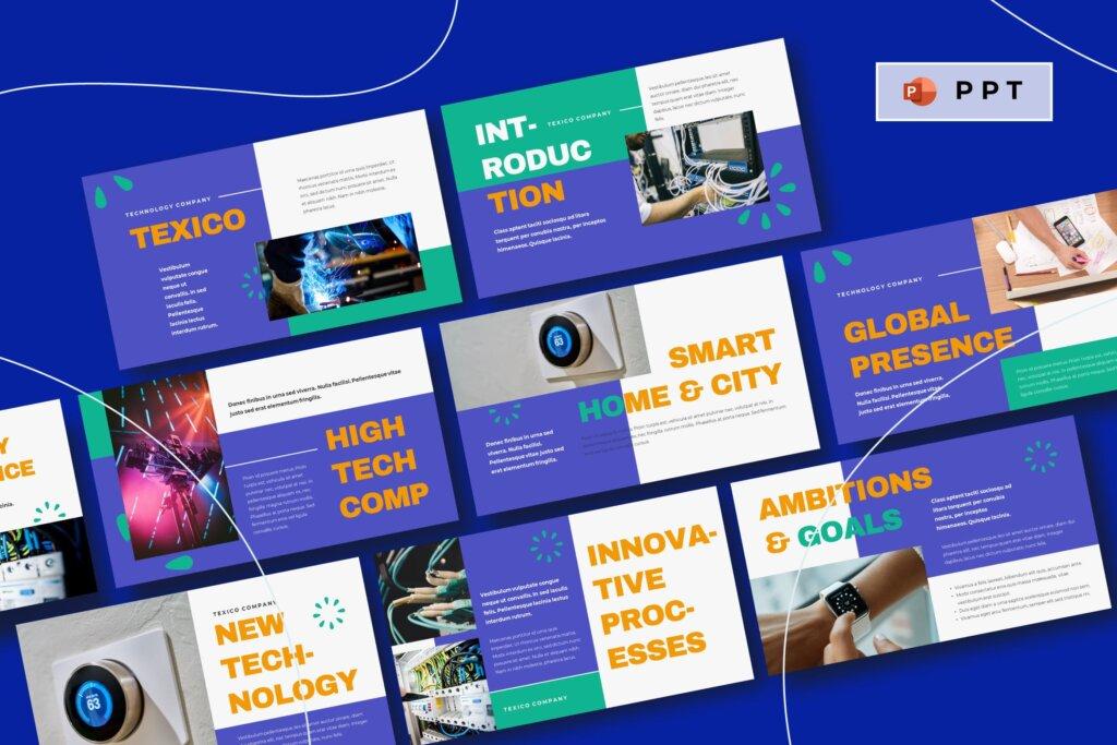 云概念云生活主题演讲幻灯片PPT模版TEXICO Technology Company Powerpoint Template插图