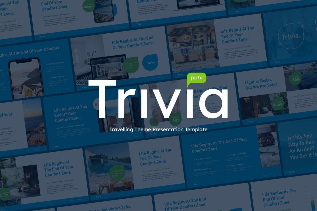 旅行类介绍幻灯片模版下载RIVIA Travel Business Powerpoint Template插图