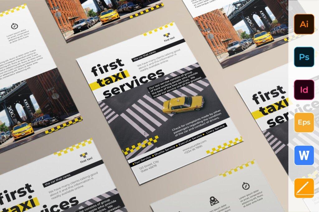 出租车服务产品宣传传单海报模板素材下载Taxi Services Flyer插图