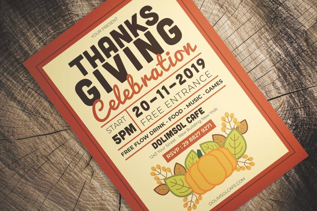感恩节庆祝活动传单海报模版素材下载J7UHC9插图