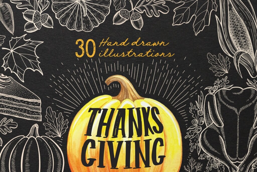 感恩节秋天蔬菜手绘食品装饰图案纹理素材下载Thanksgiving Food Illustrations插图