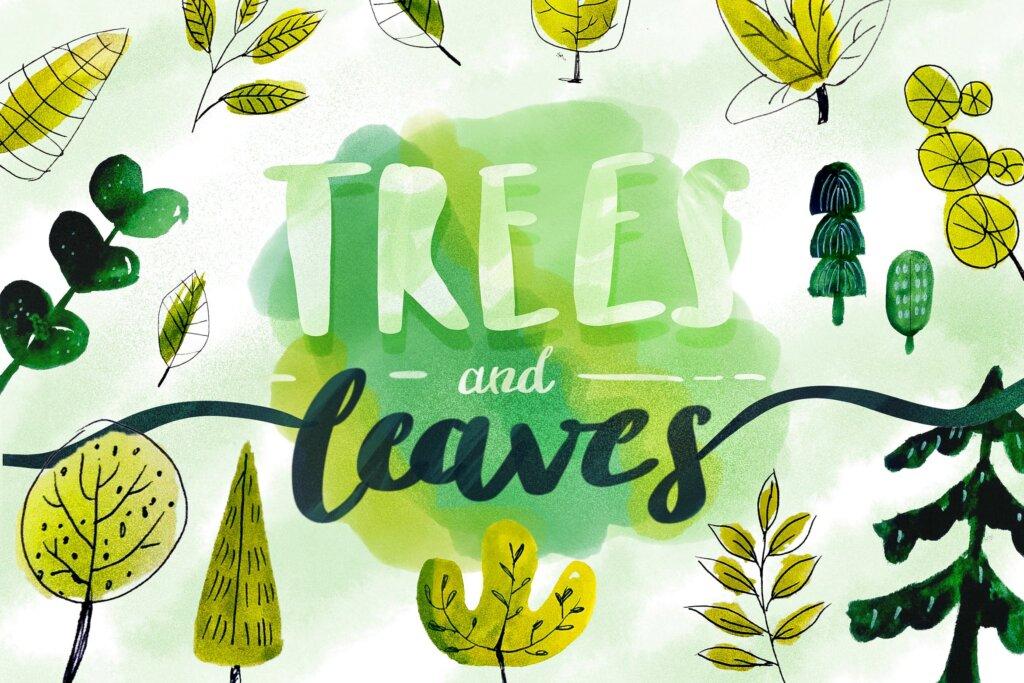 自然图案树和叶子装饰图案纹理素材Trees Leaves Watercolor Objects插图