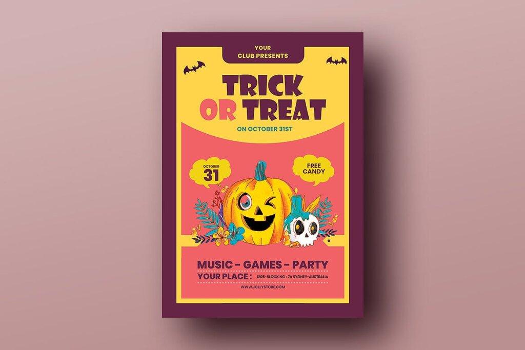 2.5D插画风格万圣节糖果节传单海报模板Trick Or Treat Halloween Candy Festival Flyer插图