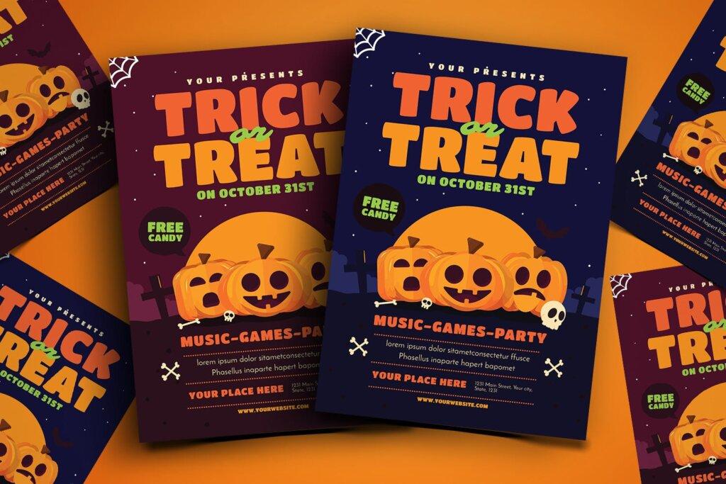 卡通南瓜主题万圣节宣传互动派对传单模版素材下载Trick or Treat Halloween Event Flyer插图
