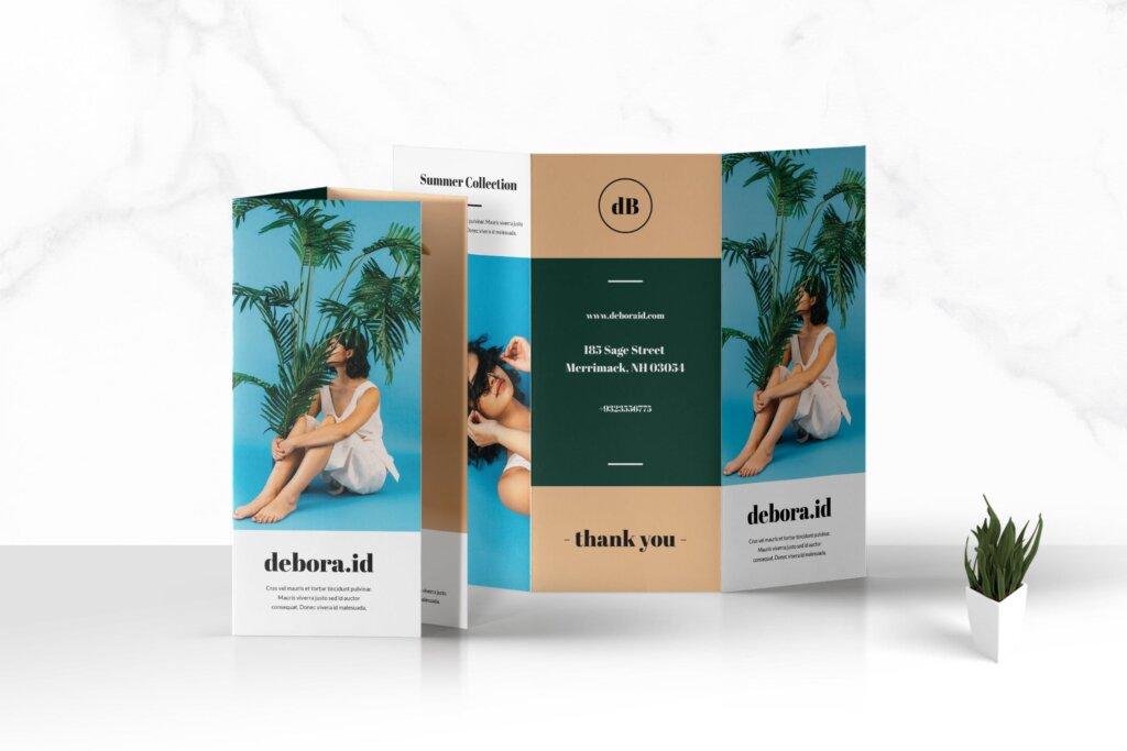 旅游公司旅游套餐产品宣传三折页模板素材下载Trifold Fashion Business Brochure插图