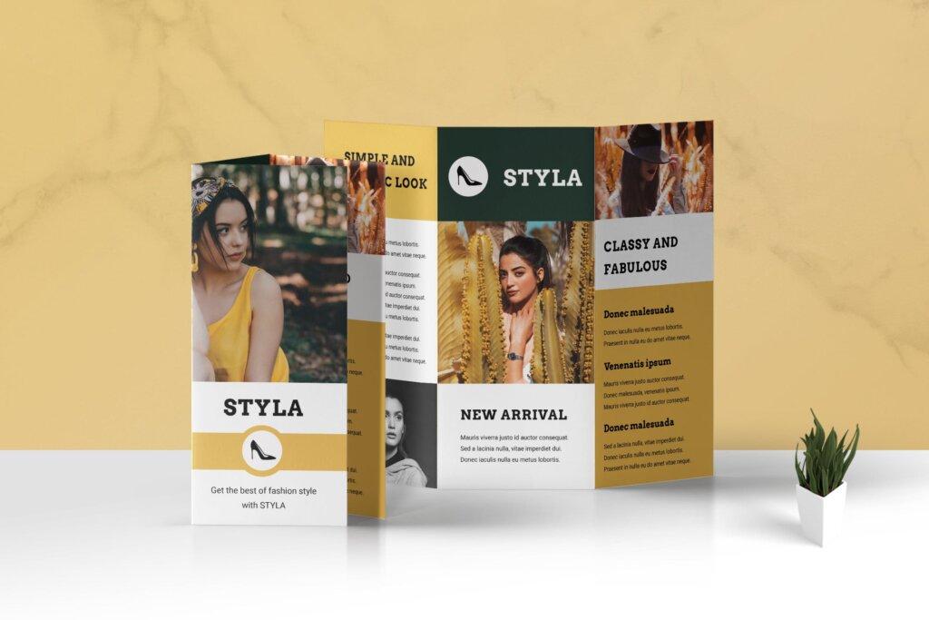 高端时尚行业传单海报模板素材下载Trifold Fashion Business Flyer插图
