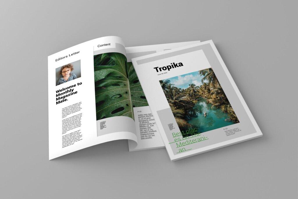 简约大气旅游杂志传单海报模板素材下载Tropika Magazine Template插图