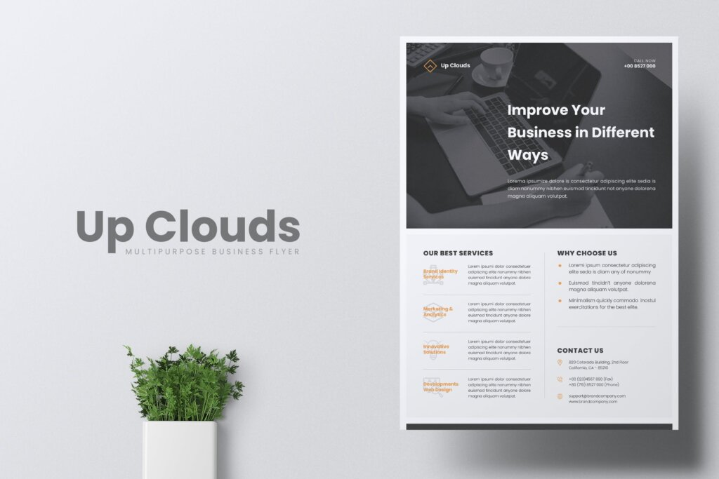 企业商业传单模板产品介绍模版素材下载UPCLOUDS Multipurpose Business Flyer插图