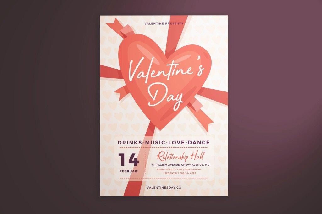 情人节派对/情人节节日海报传单模版素材下载Valentine's Day Flyer Vol. 01插图